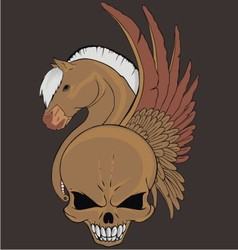 wing horse skull vector image vector image