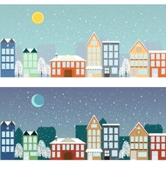 Winter sityscape at night and at day vector image vector image