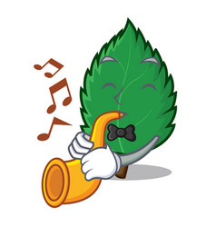 With trumpet mint leaves mascot cartoon vector