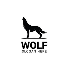 Wolf howling logo template isolated on white vector
