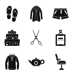womankind icons set simple style vector image