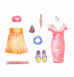 womens clothing set watercolor collection of vector image