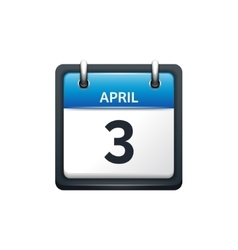 April 3 Calendar icon flat vector image vector image