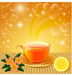 background with flower tea vector image vector image