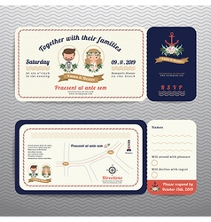Nautical ticket hipster bride and groom wedding vector