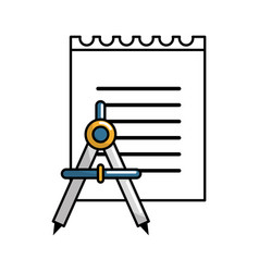 Paper notebook with compass tool study vector
