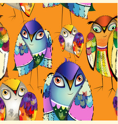 seamless colorful decorative birds vector image
