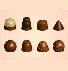 set of chocolate candies different forms of vector image vector image