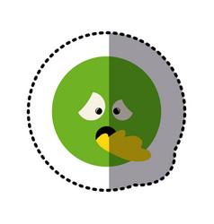 sticker colorful emoticon sick face expression vector image vector image