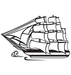 Vintage wooden tall ship vector image vector image