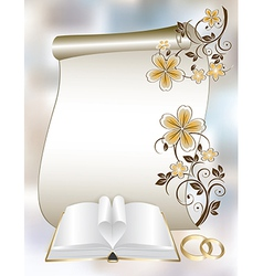 Wedding card with a floral pattern and book vector image vector image