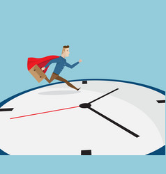 businessman with red cape running on clock vector image