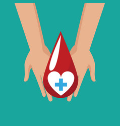 donate blood hand hold drop cross vector image