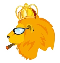 Lion in corona and spectacles vector image