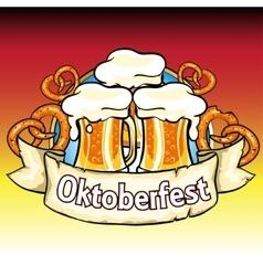 Oktoberfest label with beer and pretzels vector image vector image