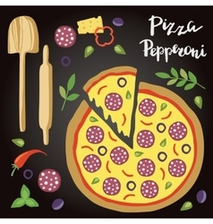Pepperoni Pizza with vector image vector image