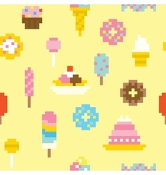 Pixel art sweets seamless pattern vector image