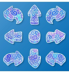 Set of blue and white doodle ornate arrows vector image vector image