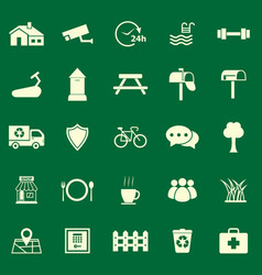 Village color icons on green background vector