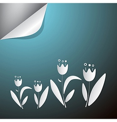 Abstract Paper Flowers on Blue Background vector image