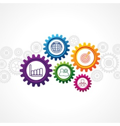 Business icons in cog wheel vector