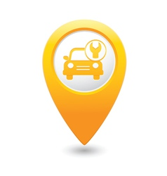 car with tool icon map pointer yellow vector image vector image