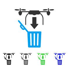 Drone drop trash flat icon vector