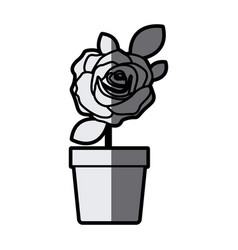 gray scale silhouette flowered rose with leaves vector image