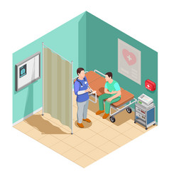 inspection at doctor isometric composition vector image