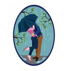 Romantic couple kissing in the rain vector image