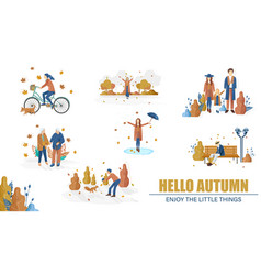 autumn people set collection flat style vector image