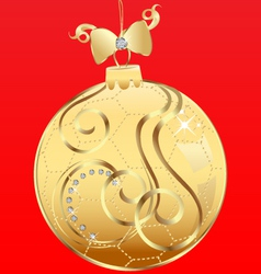 Ball Christmas and ribbon vector image