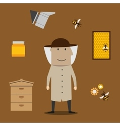 Beekeeper man and beekeeping objects vector