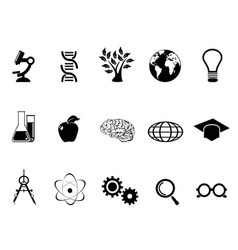 Black science research and study icons set vector