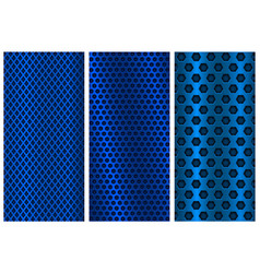 Blue metal perforated backgrounds brochure design vector