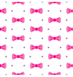 Bow tie pink and white seamless pattern vector