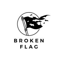 broken flag torn logo icon vector image