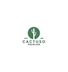 Cactus on circle silhouette logo design modern vector
