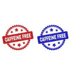 caffeine free rosette watermarks with grunge style vector image