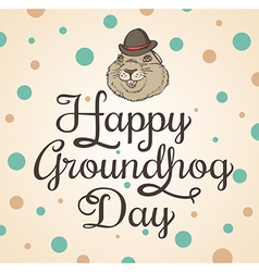 Card for Groundhog Day with marmot vector