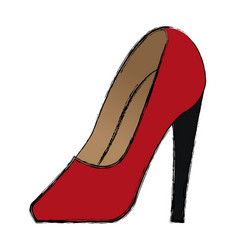 cartoon red women shoe luxury accessory vector image