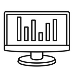 chart monitor icon outline style vector image