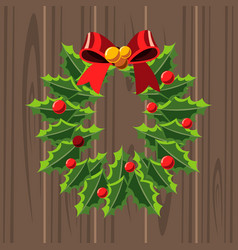 christmas wreath template on wooden background vector image vector image