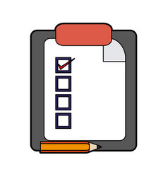 Colorful silhouette report table icon with pencil vector