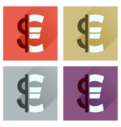 Concept of flat icons with long shadow euro dollar vector
