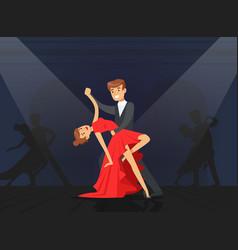 couple dancing tango classical choreography vector image