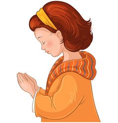 cute little girl praying christian cartoon vector image
