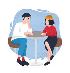 cute young man and woman sitting at cafe table vector image