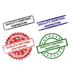 Damaged textured quality control inspector seal vector