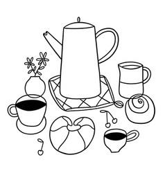 doodle breakfast outline vector image